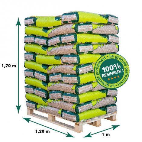 Dimensions de nos palettes de sacs de granulés de bois français